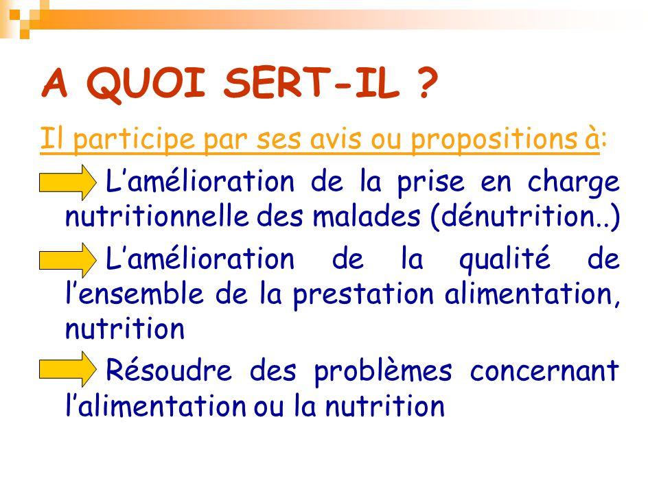 A QUOI SERT-IL Il participe par ses avis ou propositions à: