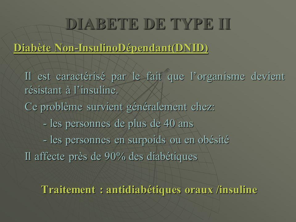 Traitement : antidiabétiques oraux /insuline