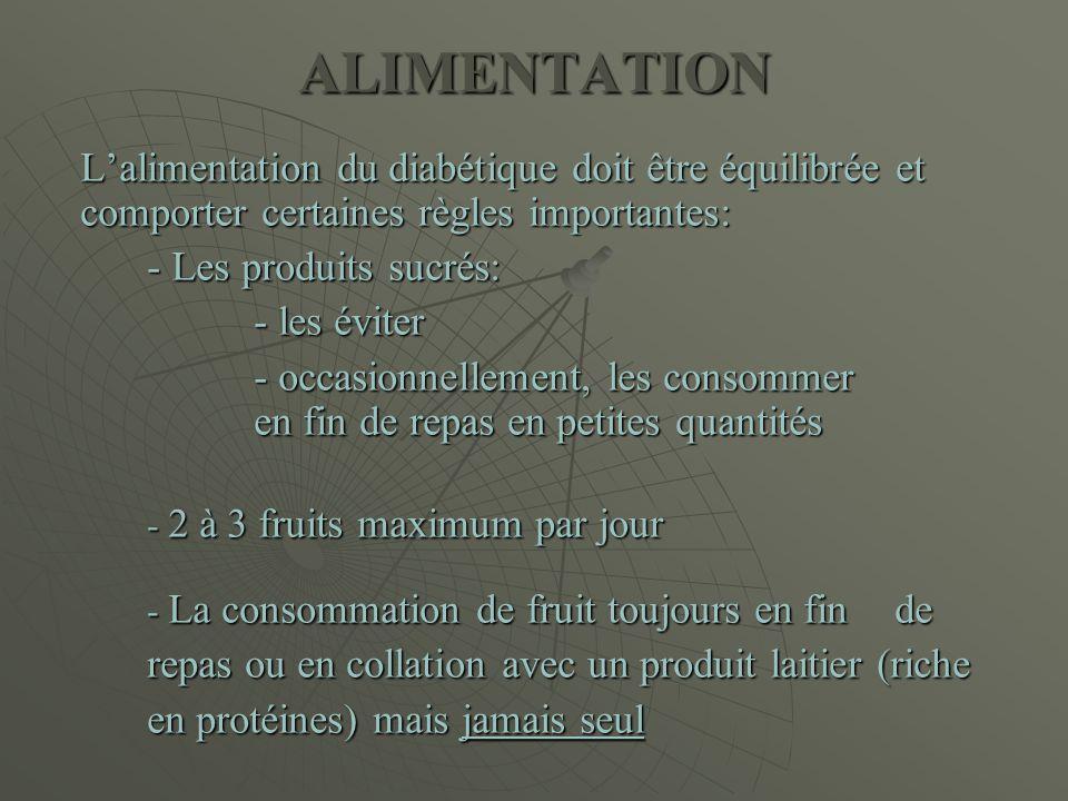 ALIMENTATION L'alimentation du diabétique doit être équilibrée et comporter certaines règles importantes: