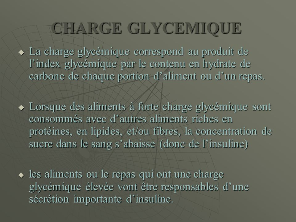 CHARGE GLYCEMIQUE