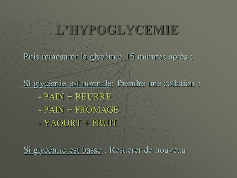 L'HYPOGLYCEMIE Puis remesurer la glycémie 15 minutes après :