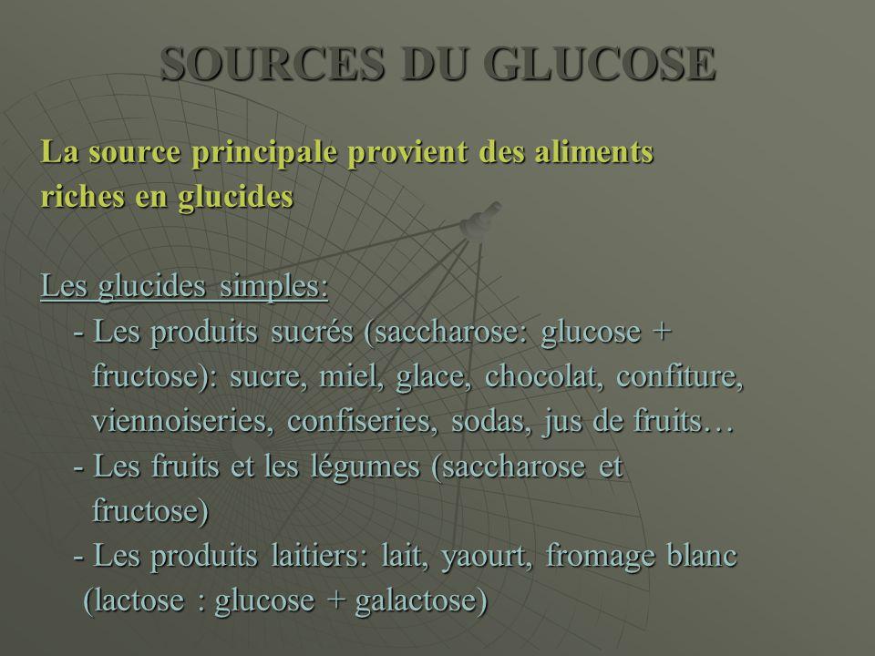 SOURCES DU GLUCOSE La source principale provient des aliments