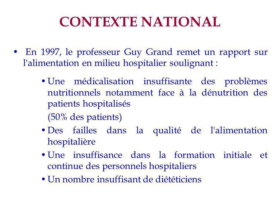 CONTEXTE NATIONAL En 1997, le professeur Guy Grand remet un rapport sur l alimentation en milieu hospitalier soulignant :