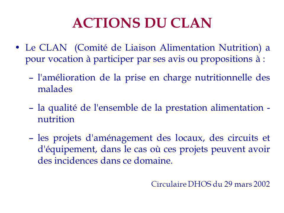 ACTIONS DU CLAN Le CLAN (Comité de Liaison Alimentation Nutrition) a pour vocation à participer par ses avis ou propositions à :