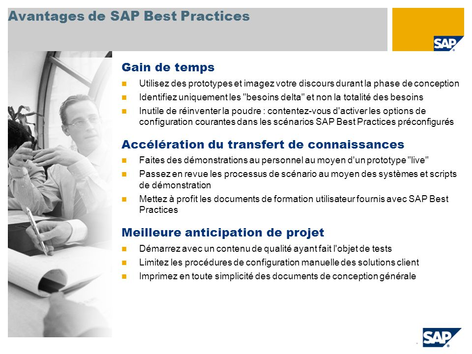 Avantages de SAP Best Practices