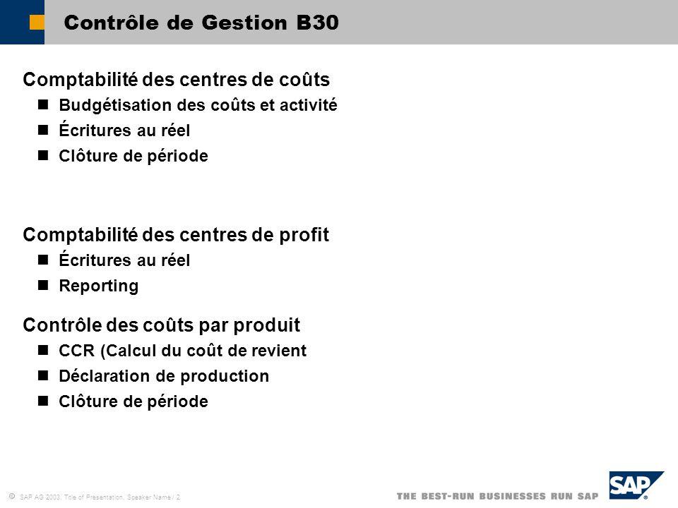 Contrôle de Gestion B30 Comptabilité des centres de coûts