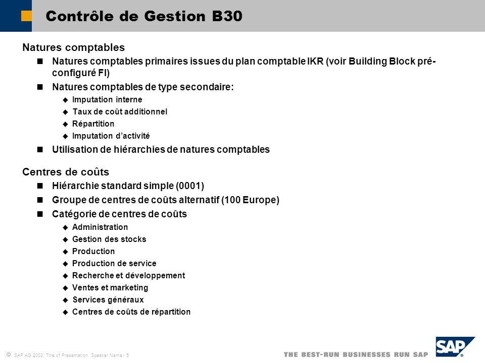 Contrôle de Gestion B30 Natures comptables Centres de coûts
