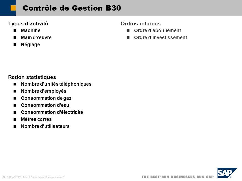 Contrôle de Gestion B30 Types d'activité Ration statistiques