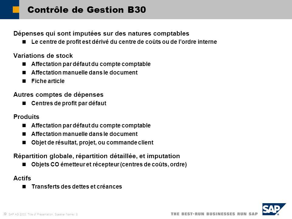 Contrôle de Gestion B30 Dépenses qui sont imputées sur des natures comptables.
