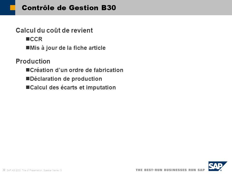 Contrôle de Gestion B30 Calcul du coût de revient Production CCR