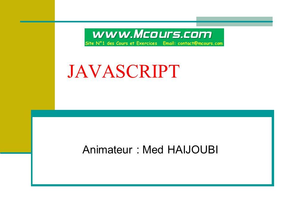 Animateur : Med HAIJOUBI