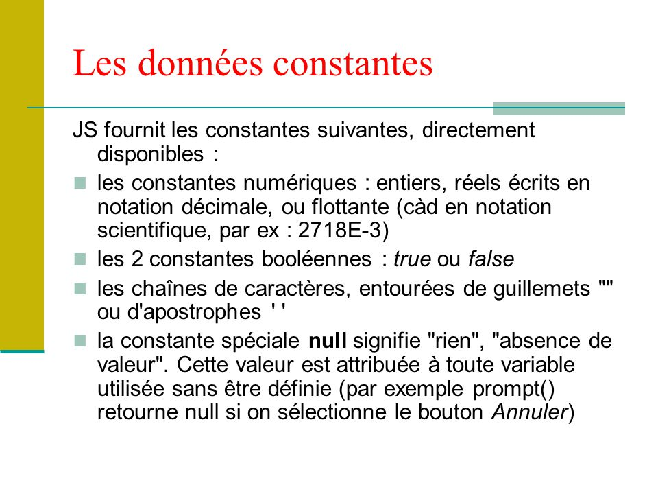 Les données constantes
