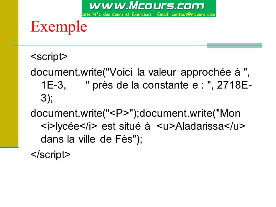 Exemple <script>