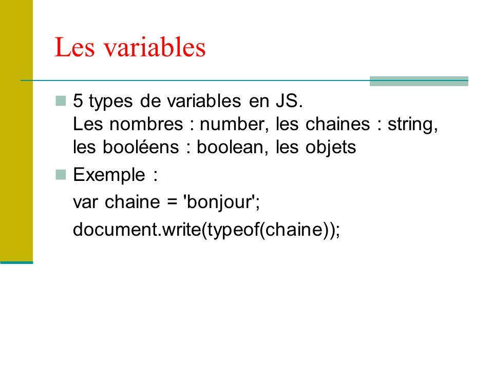 Les variables 5 types de variables en JS. Les nombres : number, les chaines : string, les booléens : boolean, les objets.
