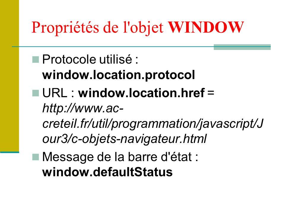 Propriétés de l objet WINDOW
