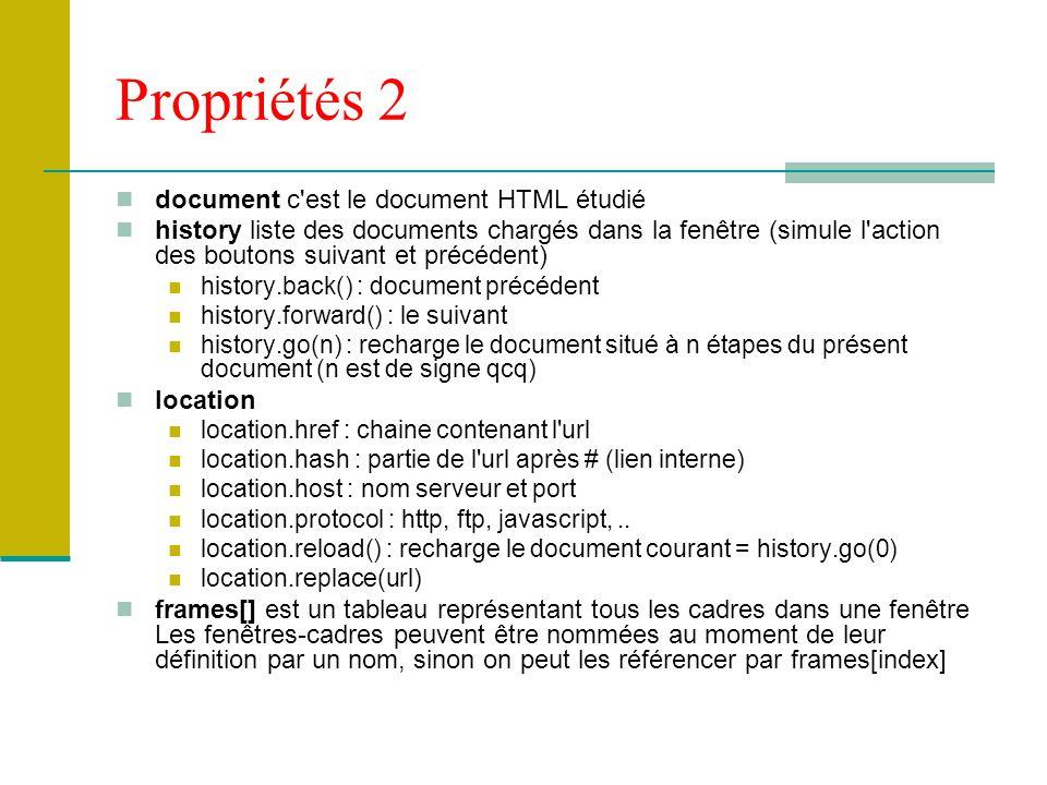 Propriétés 2 document c est le document HTML étudié