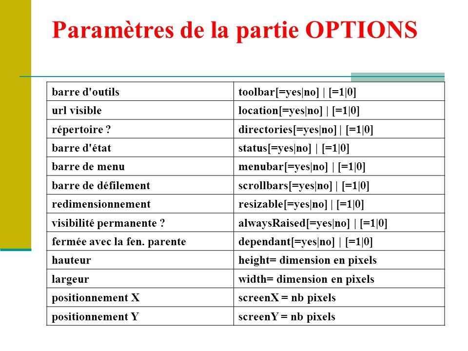 Paramètres de la partie OPTIONS
