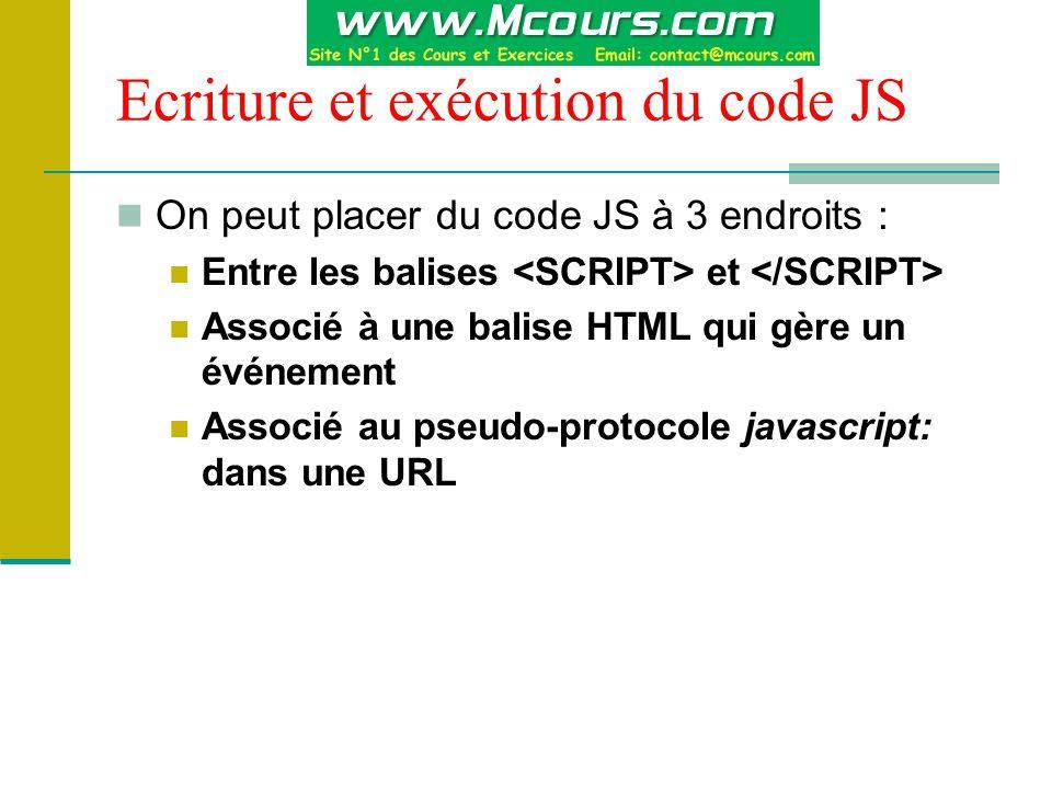 Ecriture et exécution du code JS