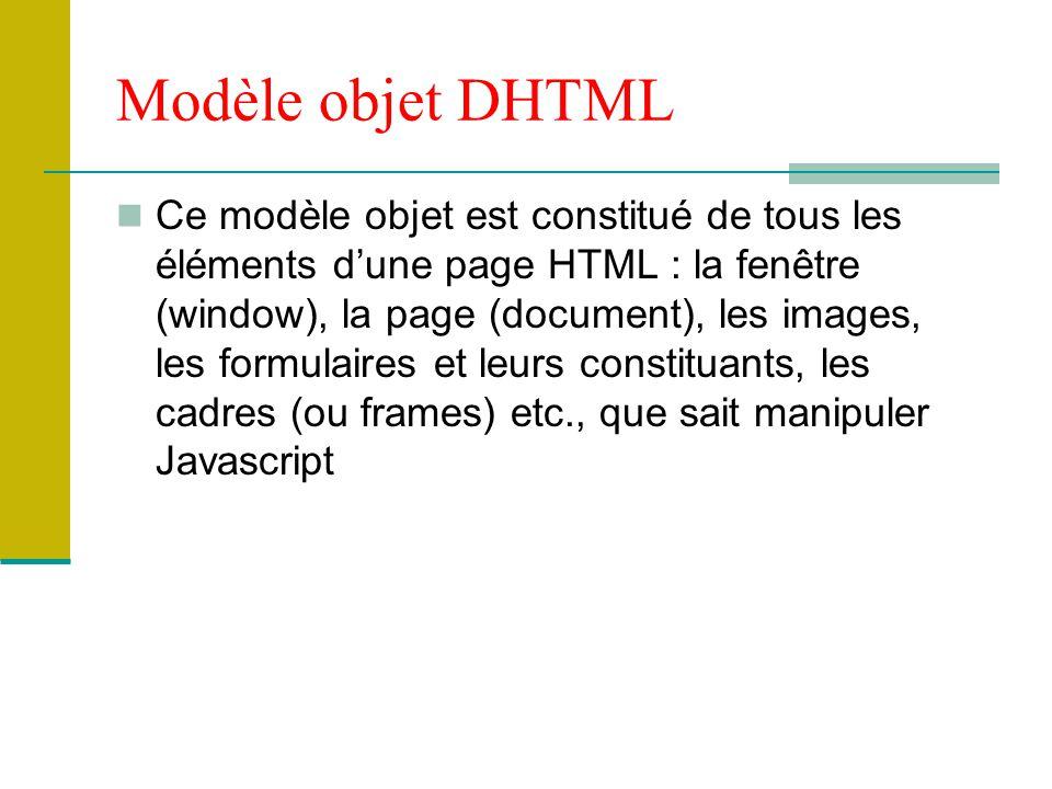Modèle objet DHTML