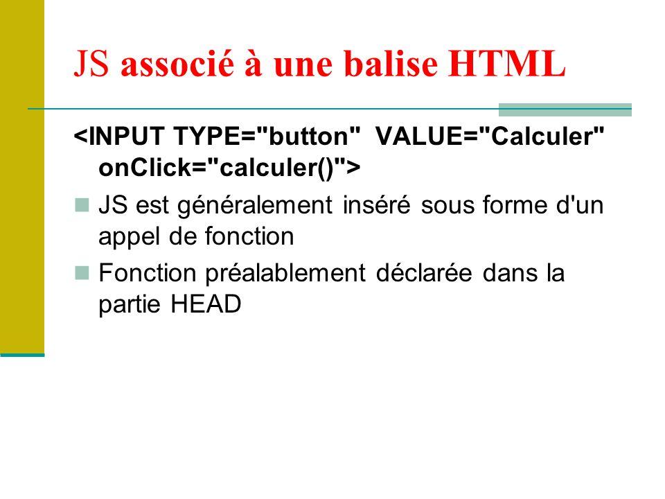 JS associé à une balise HTML
