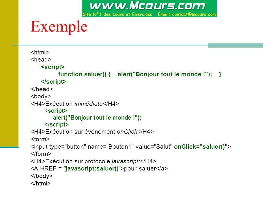 Exemple <html> <head> <script>