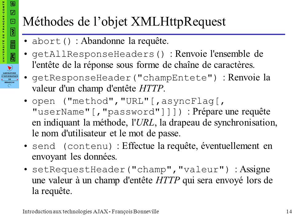 Méthodes de l'objet XMLHttpRequest