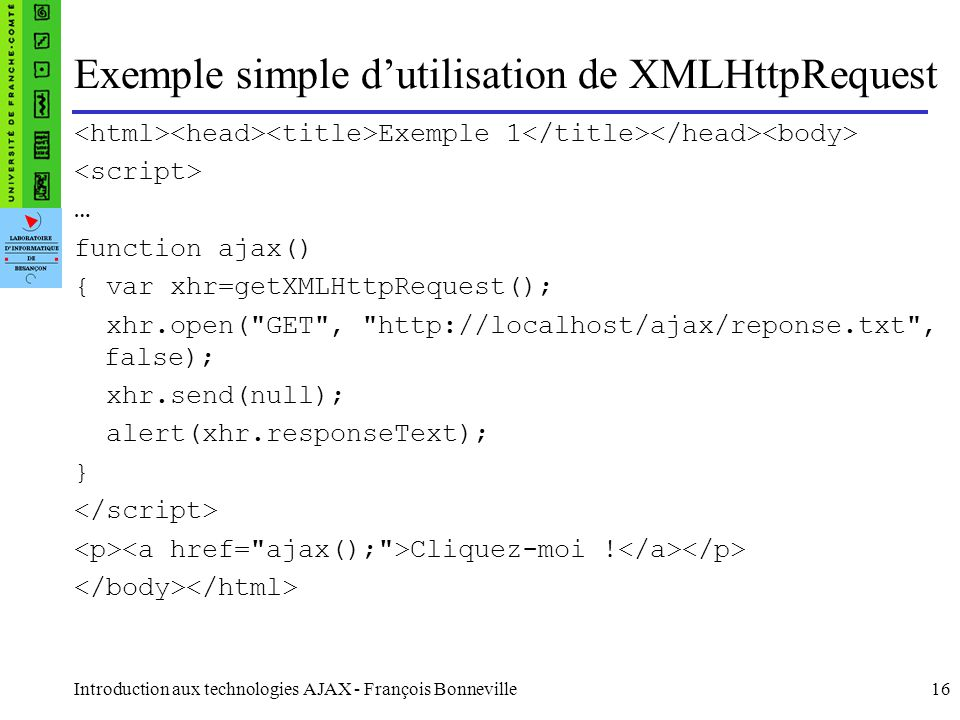 Exemple simple d'utilisation de XMLHttpRequest