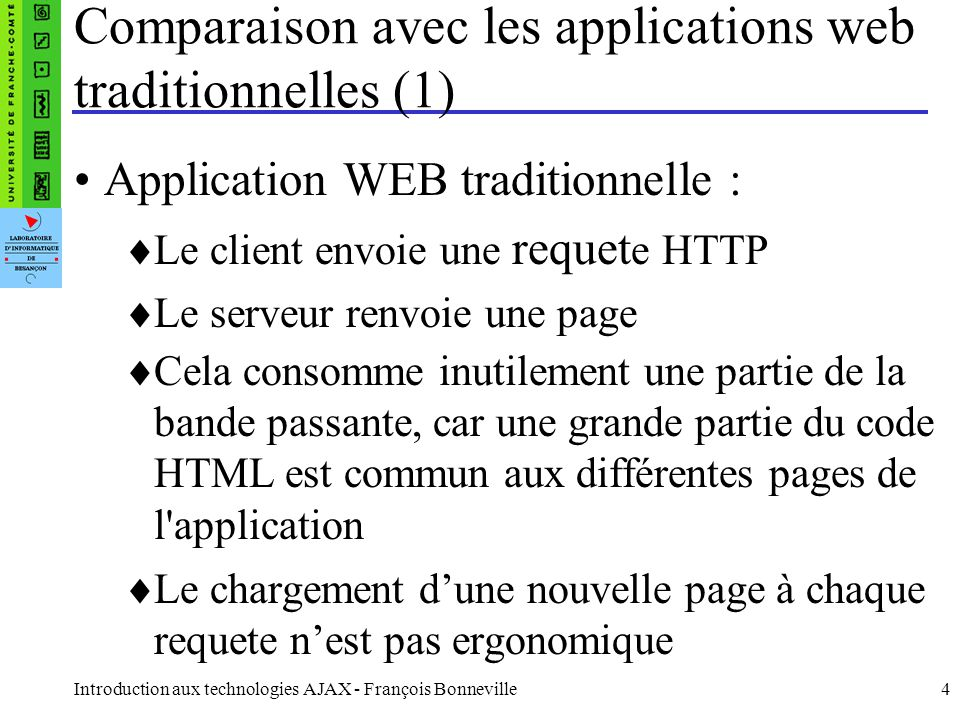 Comparaison avec les applications web traditionnelles (1)