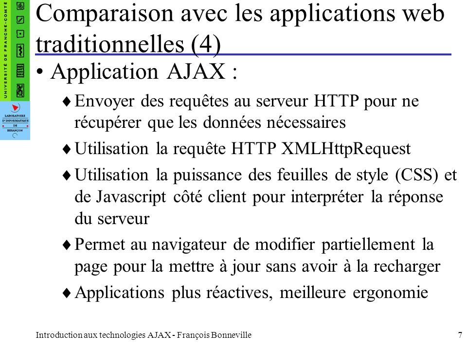 Comparaison avec les applications web traditionnelles (4)