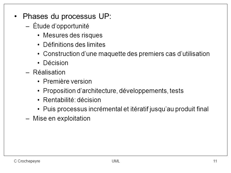 Phases du processus UP: