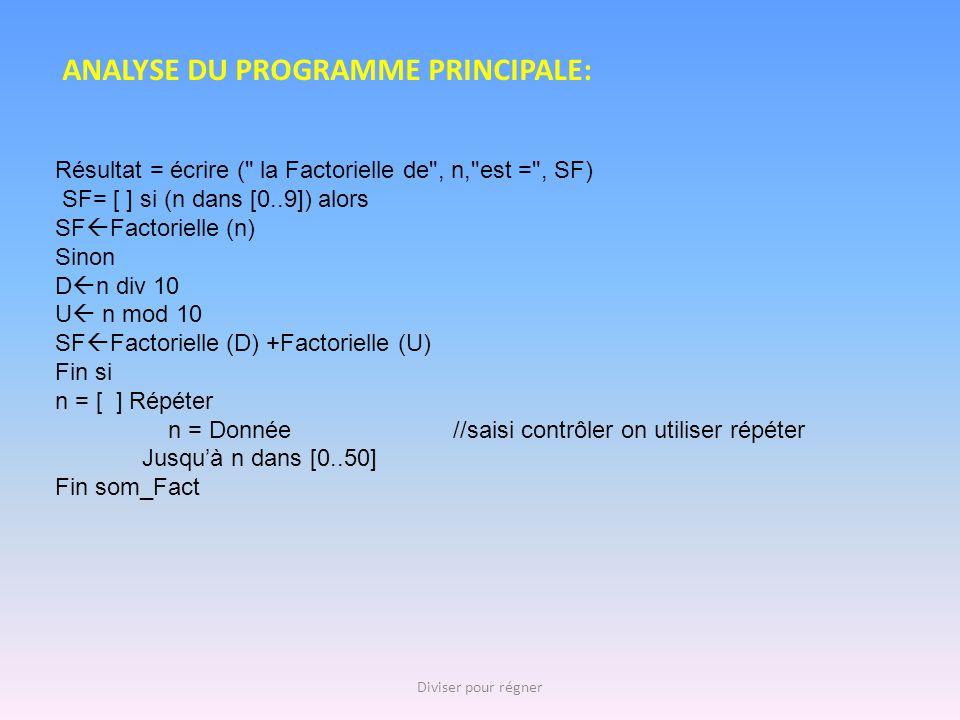 ANALYSE DU PROGRAMME PRINCIPALE: