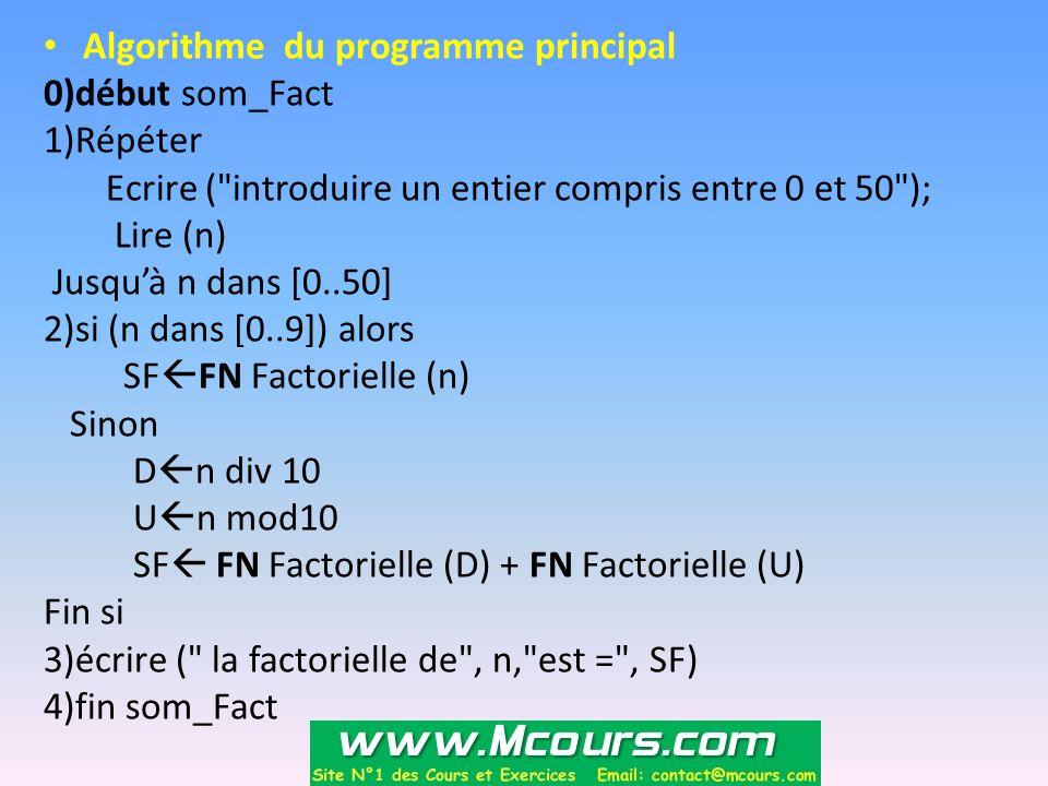 Algorithme du programme principal 0)début som_Fact 1)Répéter