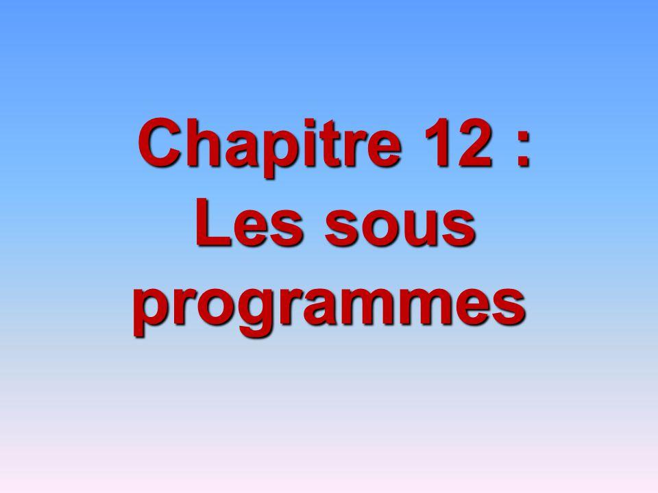 Chapitre 12 : Les sous programmes