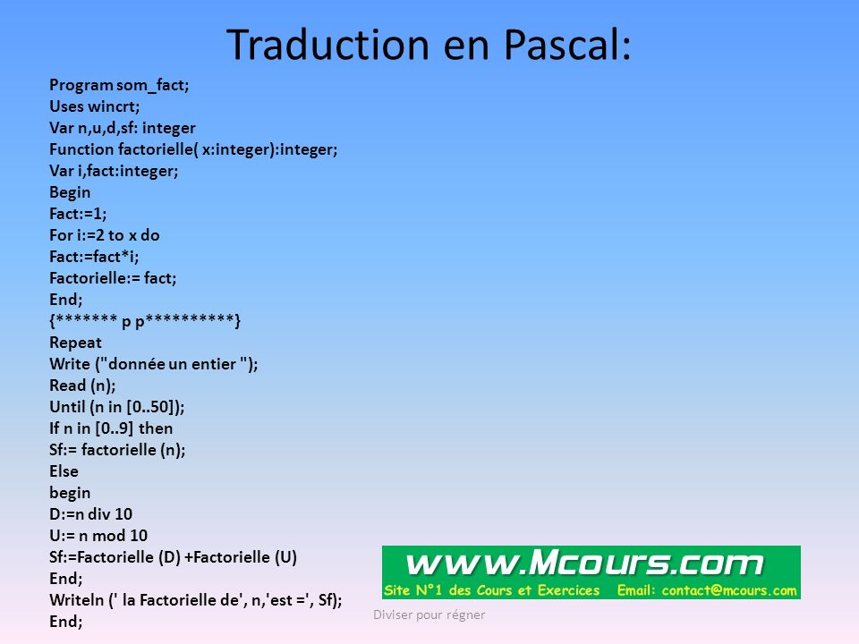 Traduction en Pascal: