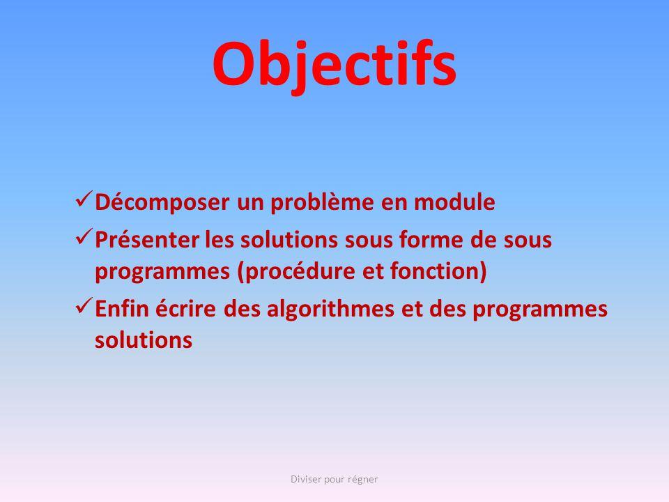 Objectifs Décomposer un problème en module