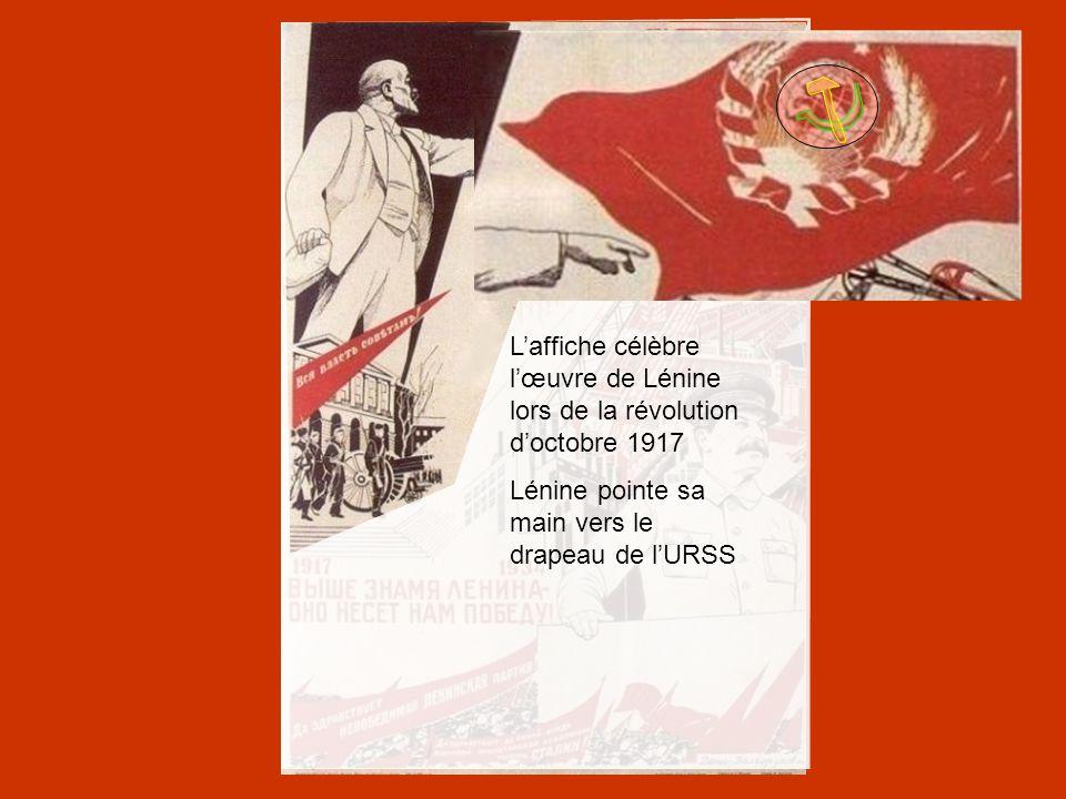L'affiche célèbre l'œuvre de Lénine lors de la révolution d'octobre 1917