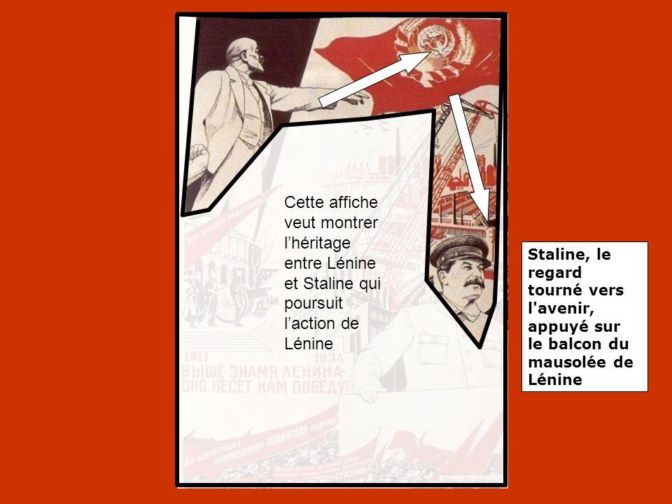 Cette affiche veut montrer l'héritage entre Lénine et Staline qui poursuit l'action de Lénine