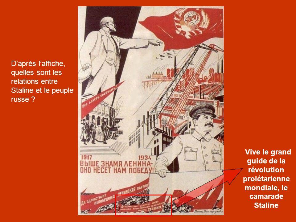 D'après l'affiche, quelles sont les relations entre Staline et le peuple russe