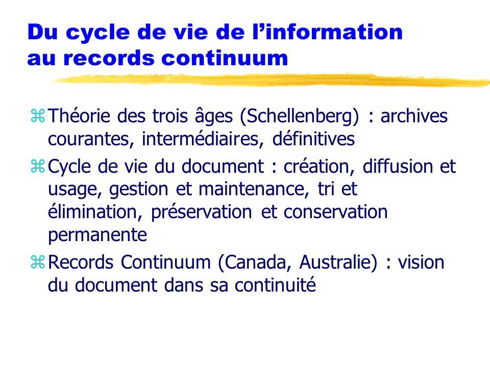 Du cycle de vie de l'information au records continuum