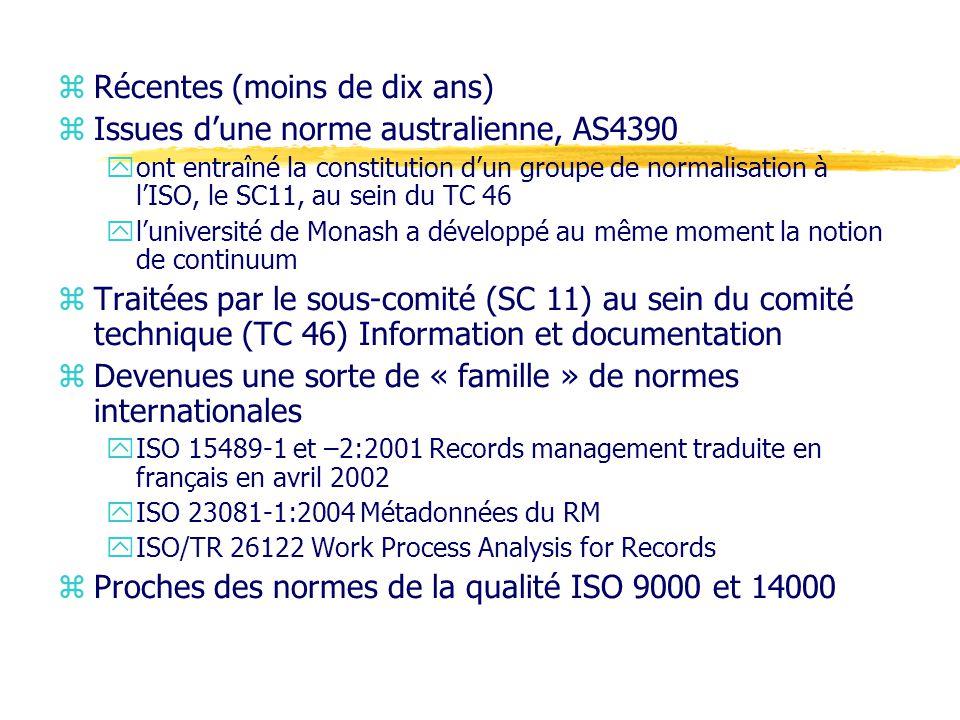 Récentes (moins de dix ans) Issues d'une norme australienne, AS4390