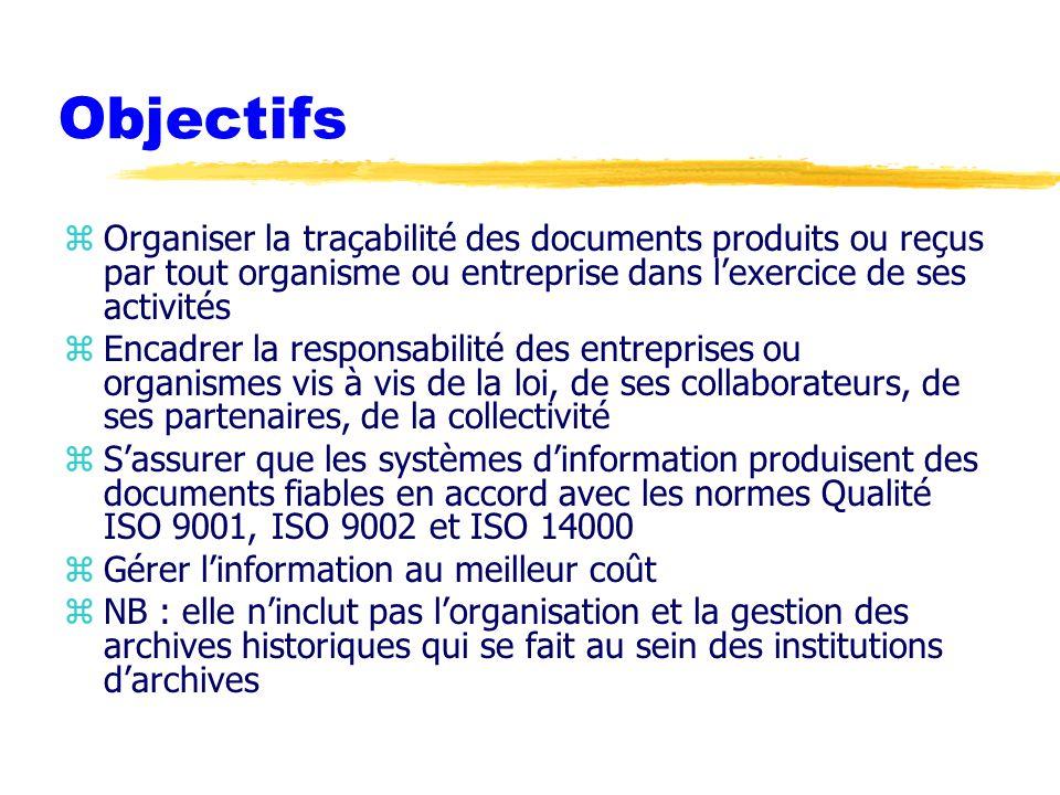 Objectifs Organiser la traçabilité des documents produits ou reçus par tout organisme ou entreprise dans l'exercice de ses activités.