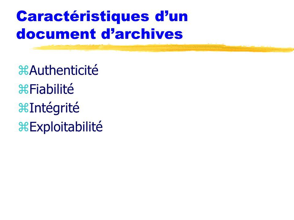 Caractéristiques d'un document d'archives