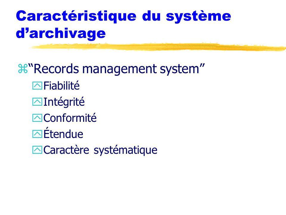 Caractéristique du système d'archivage