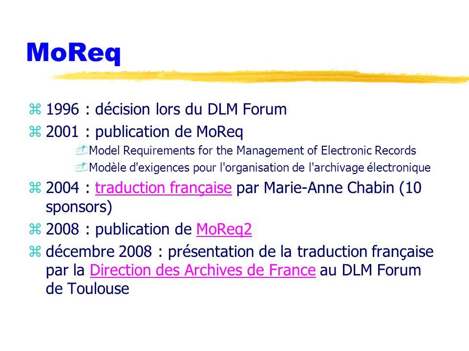 MoReq 1996 : décision lors du DLM Forum 2001 : publication de MoReq
