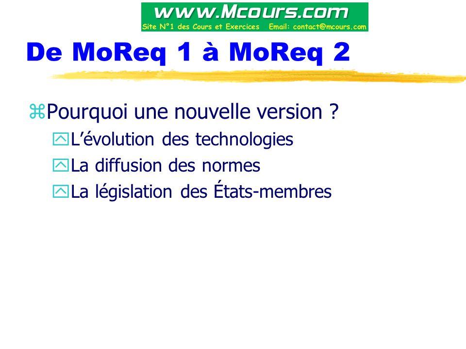 De MoReq 1 à MoReq 2 Pourquoi une nouvelle version
