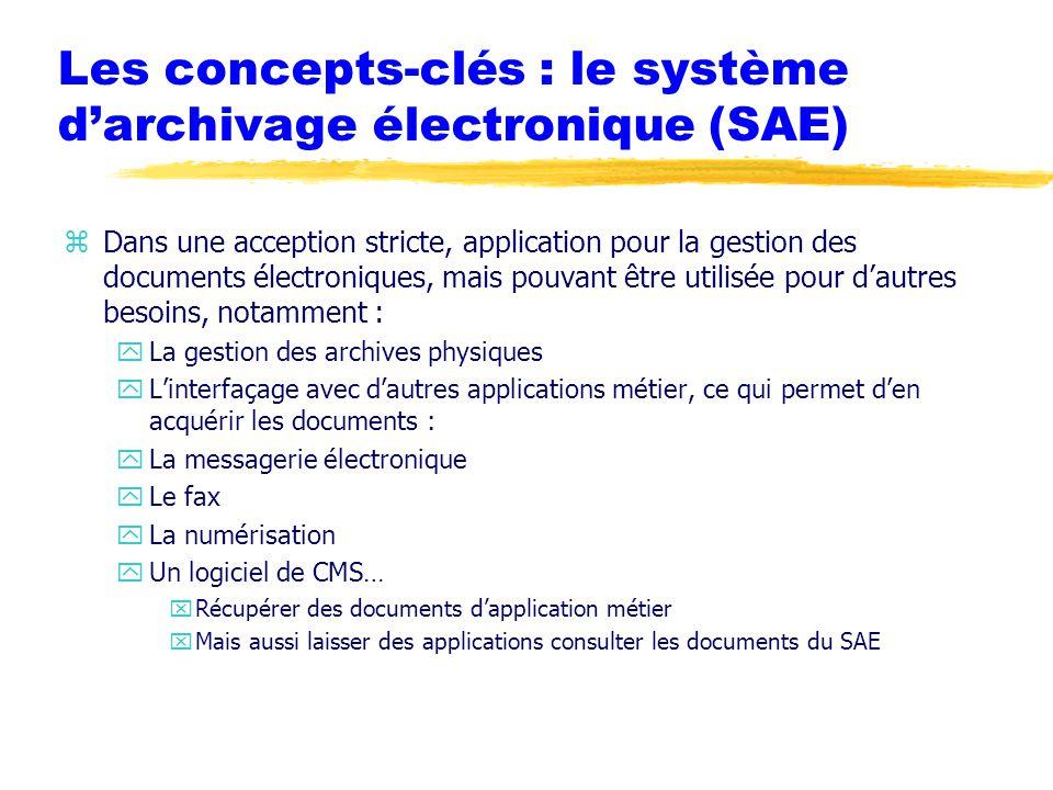 Les concepts-clés : le système d'archivage électronique (SAE)