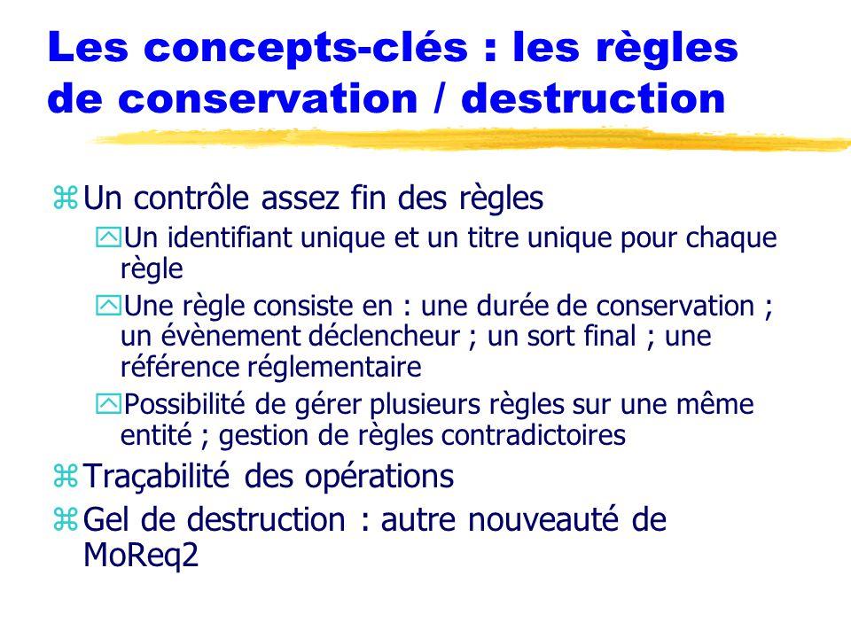 Les concepts-clés : les règles de conservation / destruction