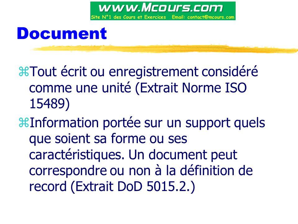 Document Tout écrit ou enregistrement considéré comme une unité (Extrait Norme ISO 15489)