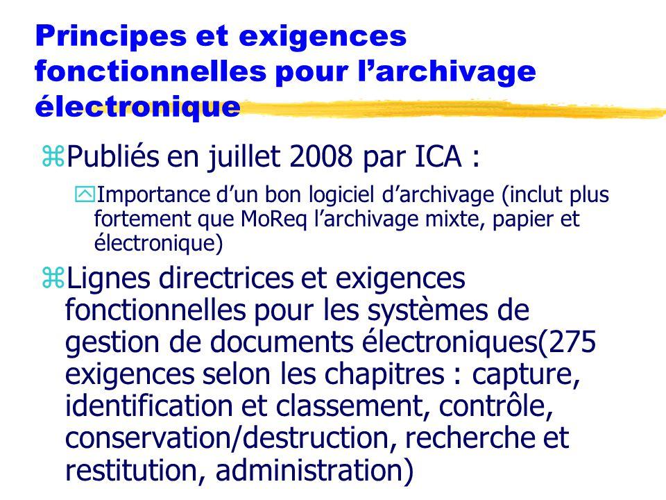 Principes et exigences fonctionnelles pour l'archivage électronique