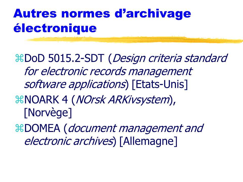 Autres normes d'archivage électronique